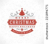 christmas retro typography and... | Shutterstock .eps vector #221896771