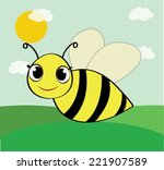 Cute Cartoon Bee With Green...