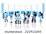 Crowd of spectators looking at display units - stock vector