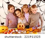 family on halloween party with... | Shutterstock . vector #221911525