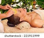 woman getting facial massage in ... | Shutterstock . vector #221911999