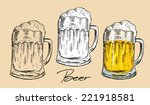 beer mug   old drawing style... | Shutterstock .eps vector #221918581