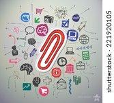 hand drawn social media icons... | Shutterstock .eps vector #221920105