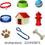 Dog Pets Stuff Icons  With...