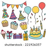 hand drawn birthday party  | Shutterstock .eps vector #221926357