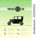retro vintage car with shadow... | Shutterstock .eps vector #221934241