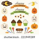 retro halloween vector... | Shutterstock .eps vector #221949289
