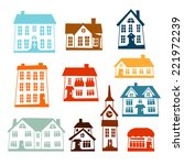 town icon set of cute colorful... | Shutterstock .eps vector #221972239