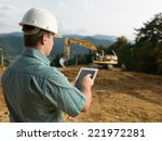 back view of caucasian engineer ... | Shutterstock . vector #221972281