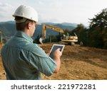 back view of caucasian engineer ... | Shutterstock . vector #221972281
