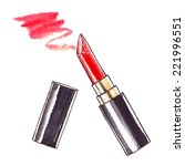 lipstick. watercolor beauty ... | Shutterstock .eps vector #221996551