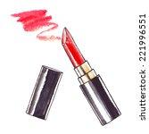 lipstick. watercolor beauty ... | Shutterstock .eps vector #221996551