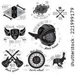 motorcycle elements set. vector ... | Shutterstock .eps vector #221999179