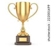 gold trophy cup on a white...   Shutterstock . vector #222001699