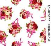 rose and ribbon pattern  | Shutterstock .eps vector #222038401