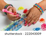 young woman making a rubber...   Shutterstock . vector #222043009