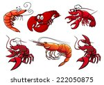 Cartoon Red Shrimp  Crab And...