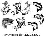 cartoon salmons fish set for... | Shutterstock .eps vector #222052339