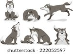 wolf cartoon illustration set | Shutterstock .eps vector #222052597