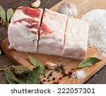 salted lard on wooden cutting... | Shutterstock . vector #222057301