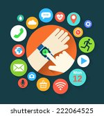 flat illustration of hand with... | Shutterstock .eps vector #222064525