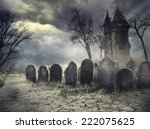 haunted house on spooky... | Shutterstock . vector #222075625