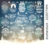 hand drawn christmas and new... | Shutterstock .eps vector #222077494
