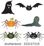 ghost  spider vector  pumpkin...   Shutterstock .eps vector #222117115