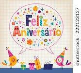 feliz aniversario portuguese... | Shutterstock .eps vector #222123127