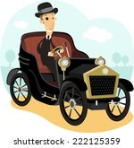 antique collector car with... | Shutterstock .eps vector #222125359