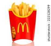 MOSCOW, RUSSIA-JULY 7, 2013: McDonald's French fries. Corporation is the world's largest chain of hamburger fast food restaurants, serving around 68 million customers daily in 119 countries - stock photo