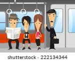 people traveling on the subway | Shutterstock .eps vector #222134344