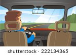 rear view of a man driving a car | Shutterstock .eps vector #222134365