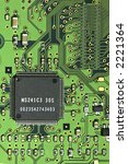 Printed circuit board with mounted IC - stock photo