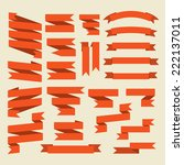 orange ribbons set isolated on... | Shutterstock .eps vector #222137011