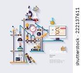 chemistry workspace. flat design | Shutterstock .eps vector #222137611