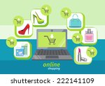 online shopping icons store... | Shutterstock .eps vector #222141109