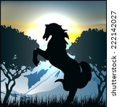 horse black silhouette pasture | Shutterstock .eps vector #222142027