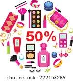 make up set  50  sale. vector... | Shutterstock .eps vector #222153289