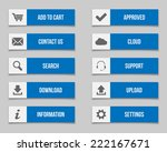 flat blue buttons set. vector...