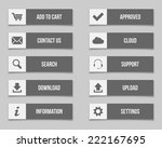 flat grey buttons set. vector...
