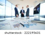 documents on office table and... | Shutterstock . vector #222195631
