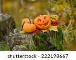 halloween scary pumpkin with a... | Shutterstock . vector #222198667