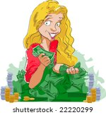 pile of money with giddy happy... | Shutterstock .eps vector #22220299