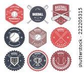 set of vintage baseball labels...   Shutterstock .eps vector #222205315