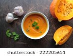 pumpkin soup in a bowl with... | Shutterstock . vector #222205651