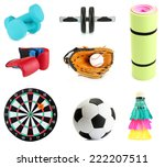 Collage of sporting goods...