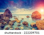 fantastic morning blue sea... | Shutterstock . vector #222209701