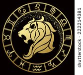 golden leo zodiac sign. vector... | Shutterstock .eps vector #222214381
