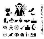 vector halloween icon set on... | Shutterstock .eps vector #222226807